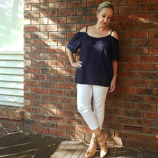 Katies white jeggings and navy cold shoulder top | Almost Posh