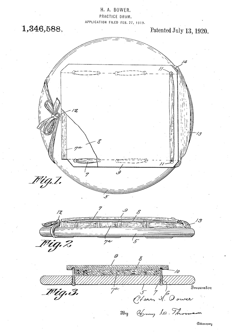 Harry A. Bower Practice Drum Patent