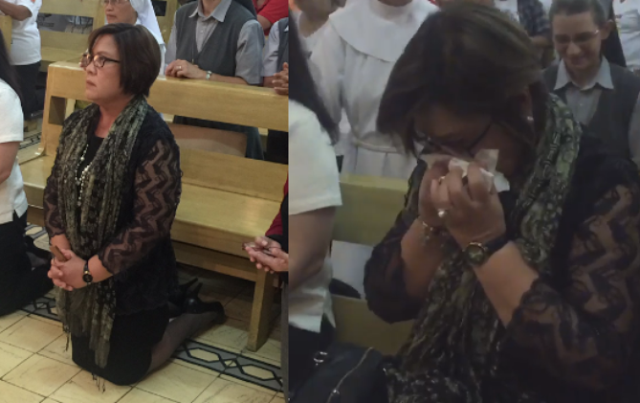 De Lima: Emotional And Broke Down In Tears at the CBCP mass!