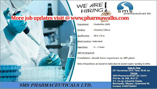 SMS Pharmaceuticals walk-in interview for Production @ Miyapur (Hyderabad)