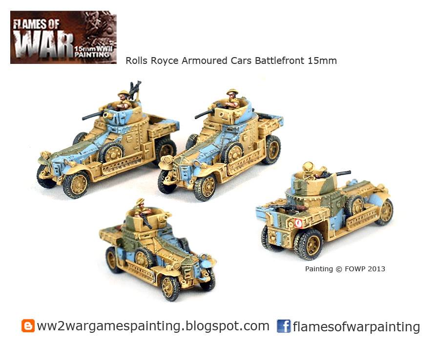 Rolls Royce Armoured Cars Battlefront 15mm painted by flames of war painting
