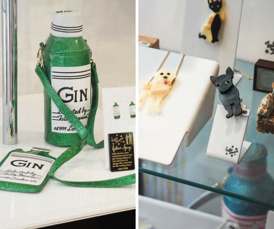 Tatty Devine gin bottle water bottle and dog brooches
