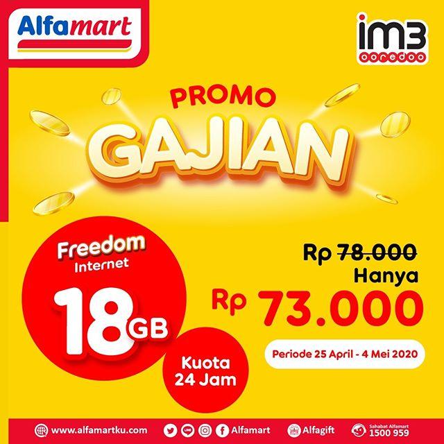 #Alfamart - #Promo Gajian IM3 Freedom Internet 18GB Hanya 73K (s.d 04 Mei 2020)