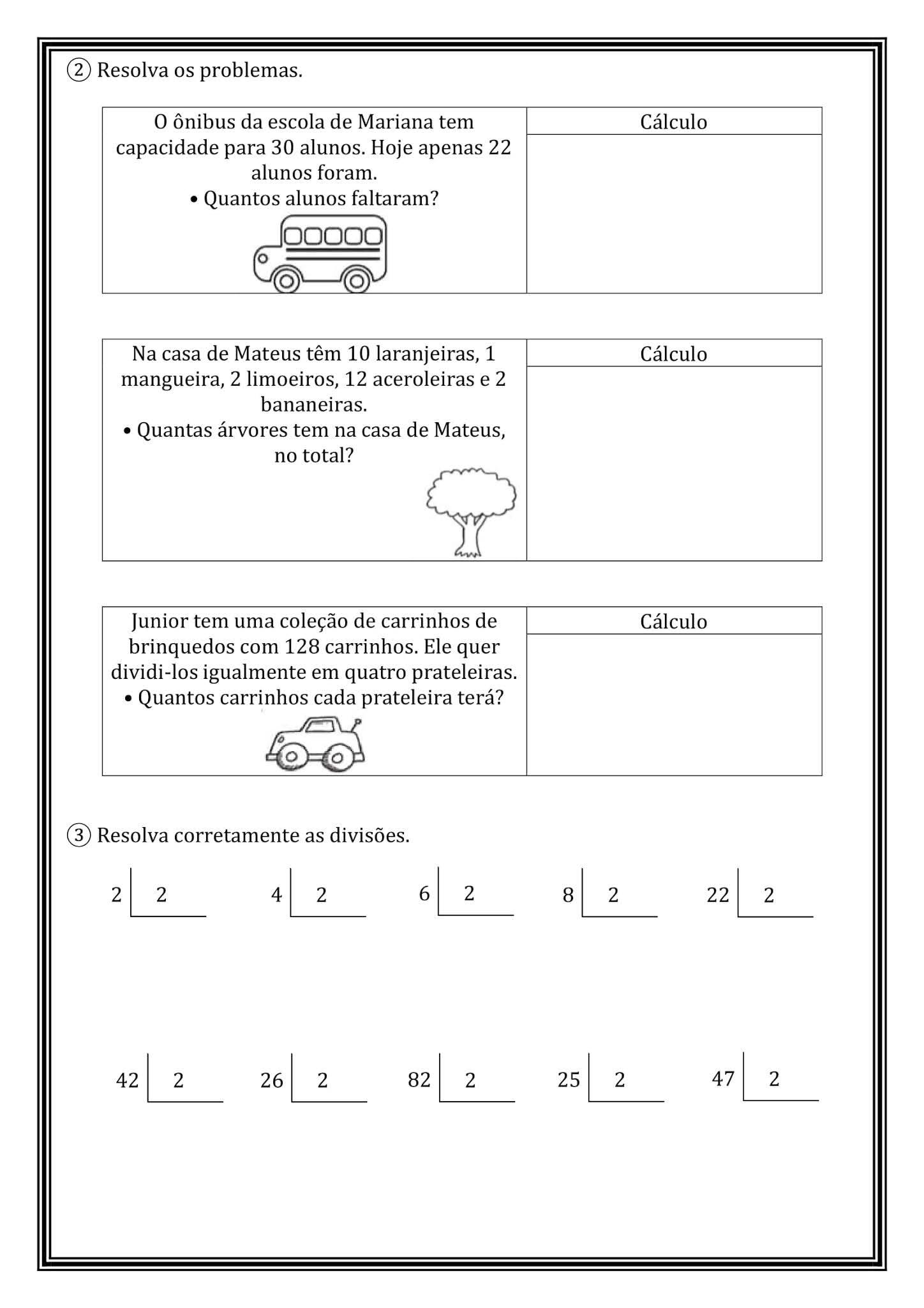 Atividade Matematica 2º Ano Divisao E Metade Pronta Para Imprimir Indagacao
