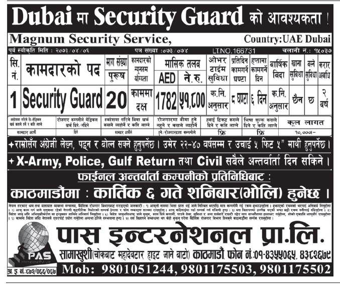 Security Guard Jobs in Dubai for Nepali,Salary Rs 51,800