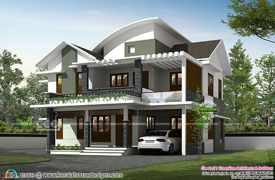 4 bedroom mixed roof house plan