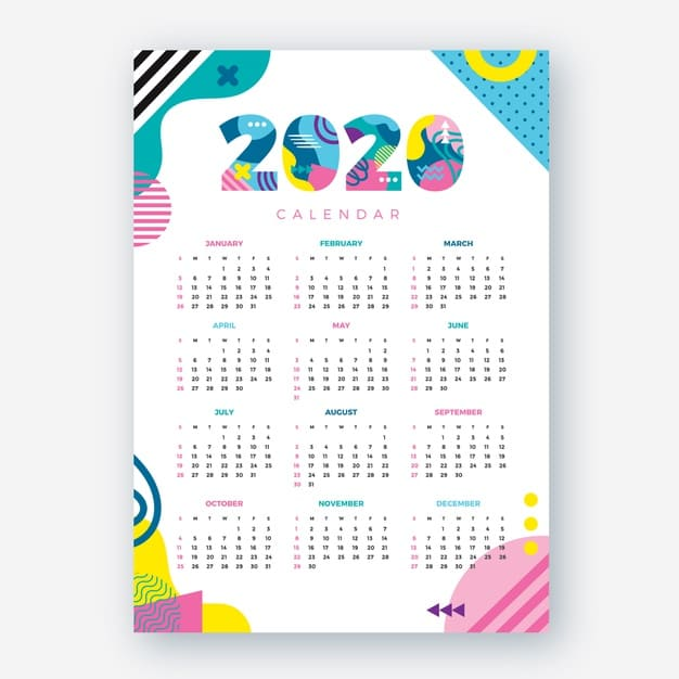 Calendario abstracto editable 2020 gratis