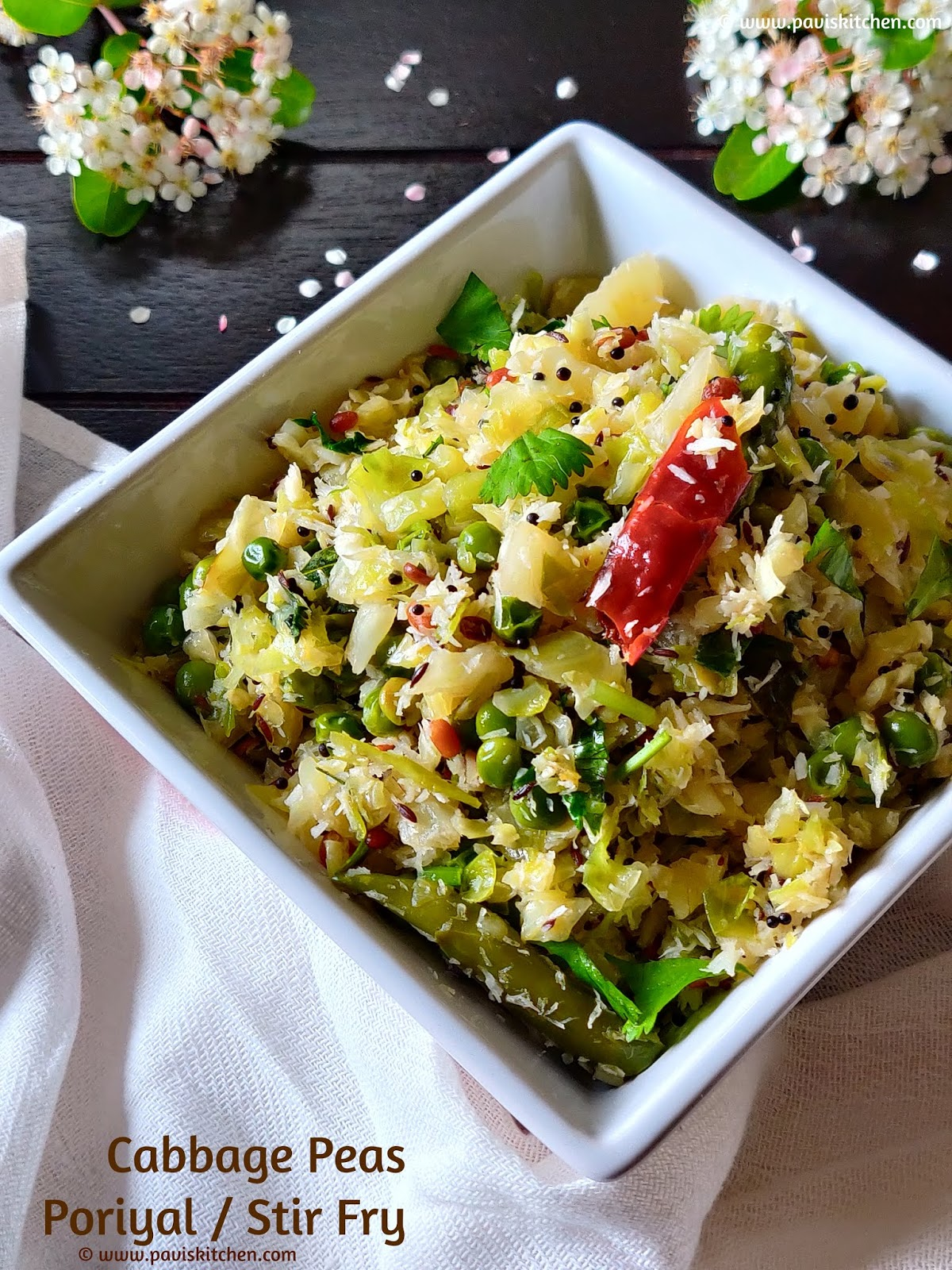 Cabbage Peas Poriyal | Muttaikose Poriyal | Cabbage Palya | Cabbage Stir Fry | Cabbage Thoran