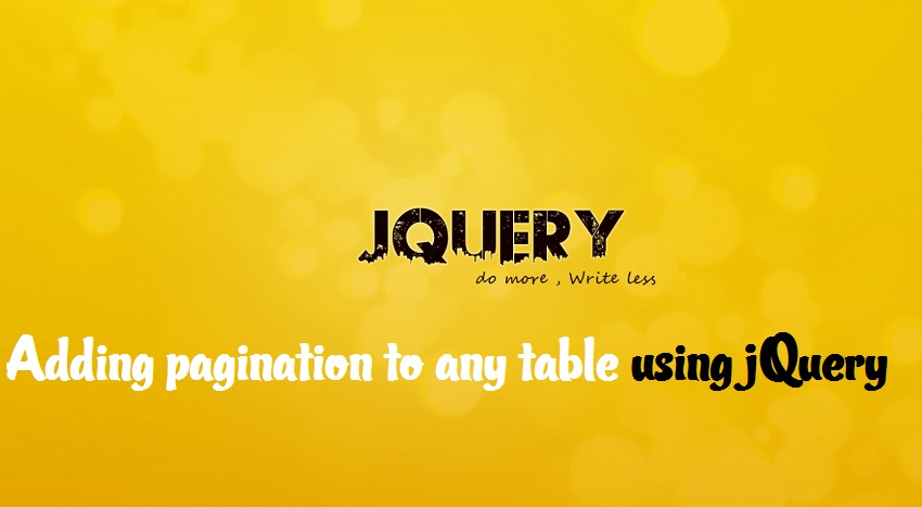Adding pagination to any table using jquery in minute : Intelligent computing