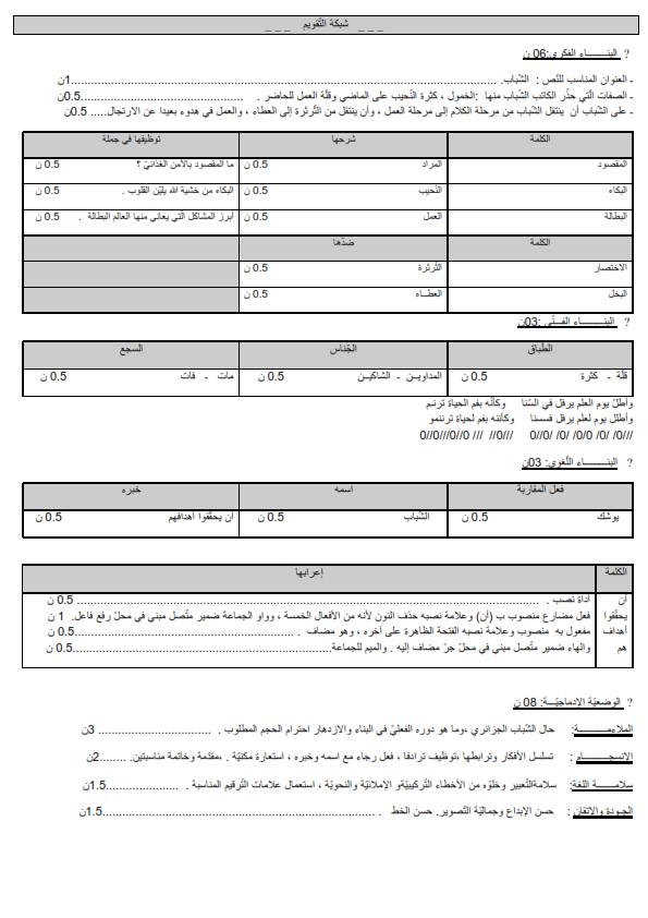 مواضيع اللغة العربية سنة الثالثة متوسط
