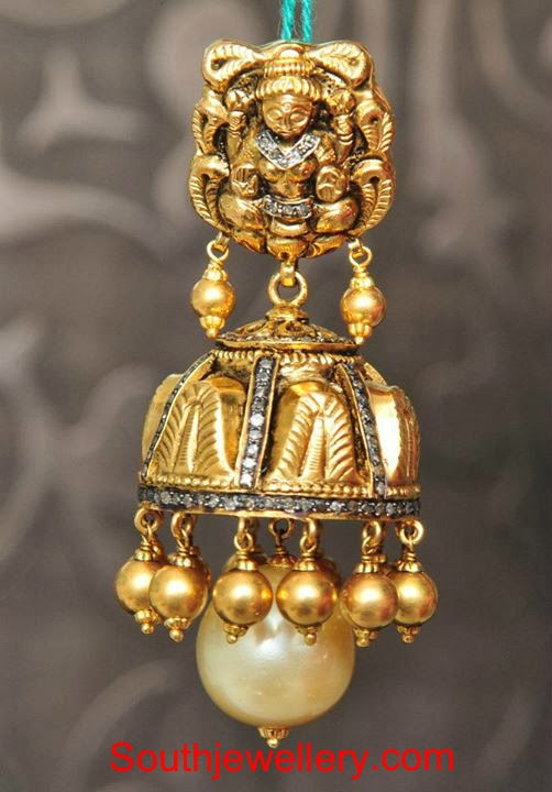 Antique Lakshmi Jhumkas Jewellery Designs