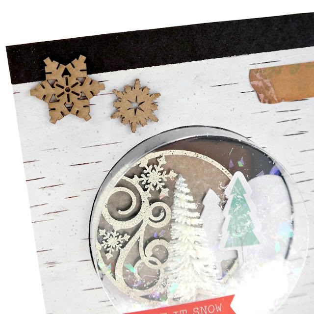 Chipboard Snowflakes on a Winter Shaker Card by Dana Tatar