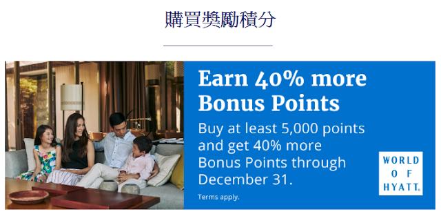 Hyatt凱悅最新買分活動,購買5000分及以上贈送40%獎勵(12/31前有效)