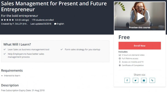 [100% Free] Sales Management for Present and Future Entrepreneur