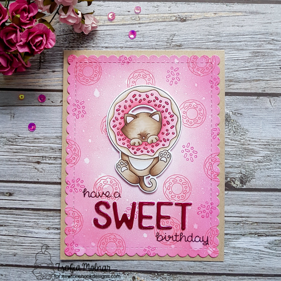 Have a sweet birthday by Zsofia features Newton's Donut, Essential Alphabet, and Frames & Flags by Newton's Nook Designs; #newtonsnook