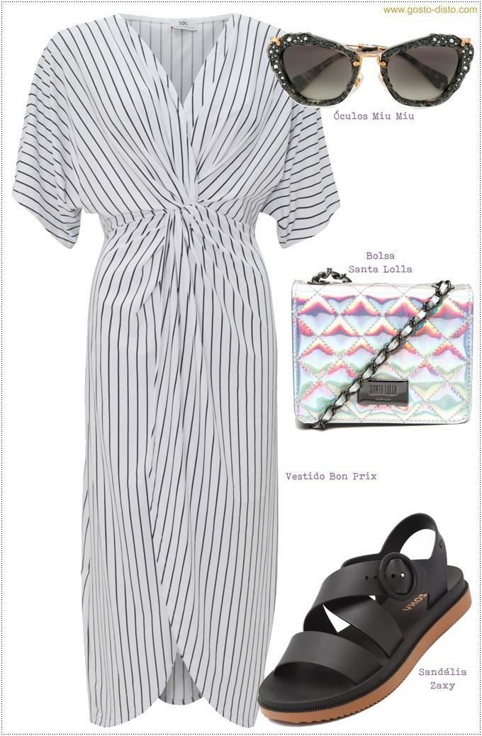 Vestido transpassado com sandália confort