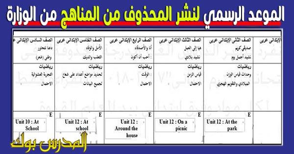 التعليم تعلن الموعد الرسمي لنشر المحذوفات لجميع المراحل 2018