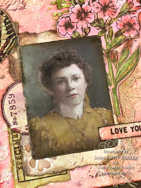 Sara Emily Barker https://sarascloset1.blogspot.com/2020/05/vintage-pink-inspiration.html Mixed Media Card #timholtz #stampersanonymous #rangerdistress #ideaology  3