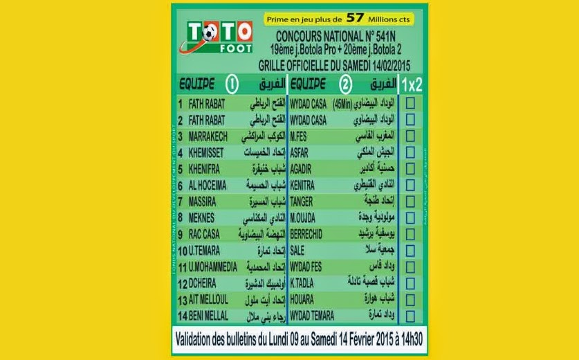TOTO FOOT COUNCOURS NATIONAL N 541N