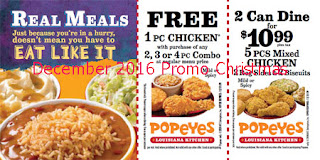 Popeyes Chicken coupons for december 2016