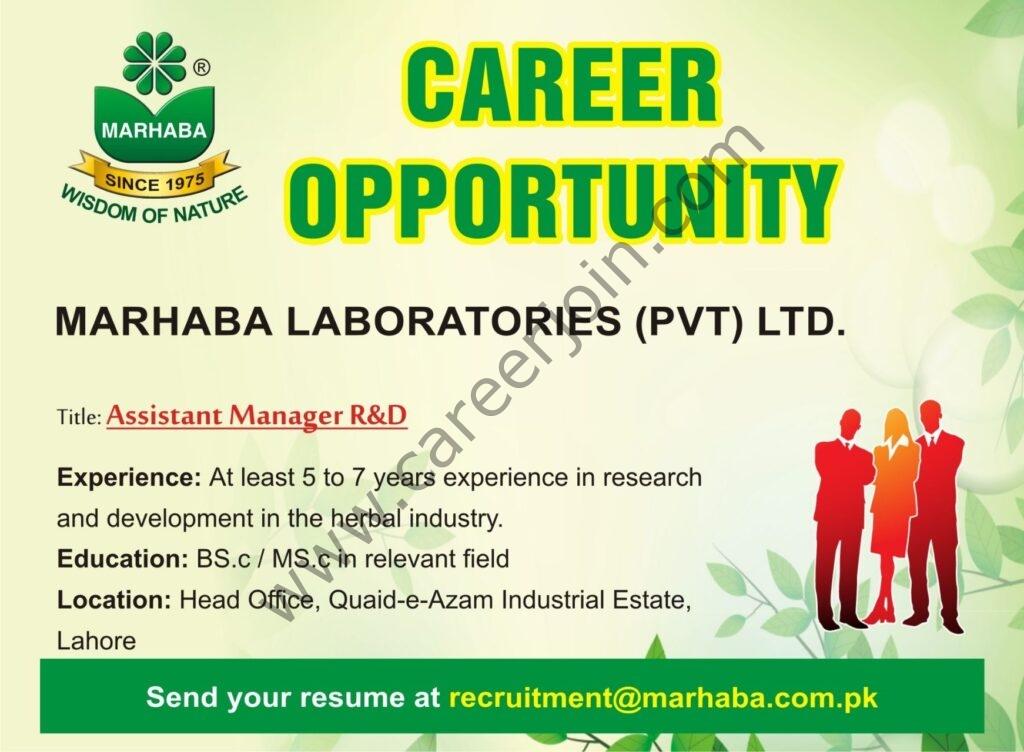recruitment@marhabha.com.pk - Marhaba Laboratories Pvt Ltd Jobs 2021 in Pakistan
