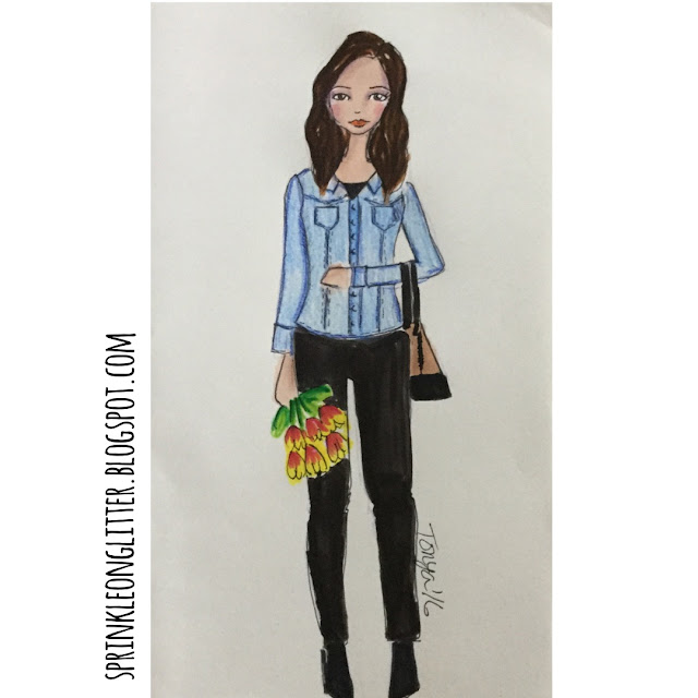 Sprinkle On Glitter Blog// Sketchworthy Reads- The Petite Bijou// denim jacket & tulips