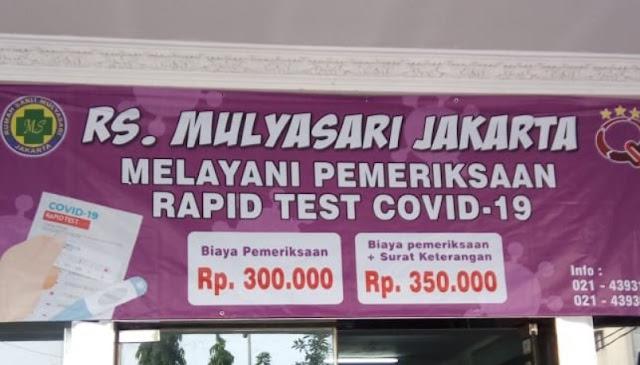 Rapid Test bayar 300 ribu sampai 400 ribu