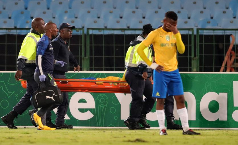 Thapelo Morena stretchered off the field
