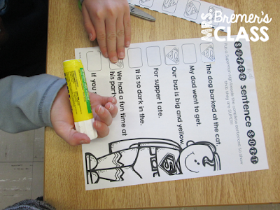 Sentence building activities where students learn to use punctuation, capital letters, adjectives, and verbs all in a superhero theme!