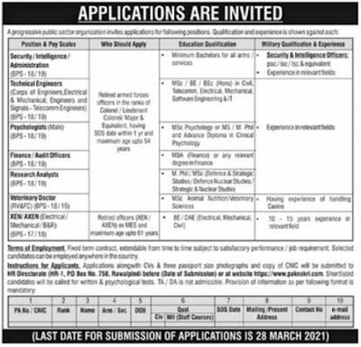 PO Box 758 Rawalpindi Jobs 2021 March Apply Online Public Sector Organization Latest