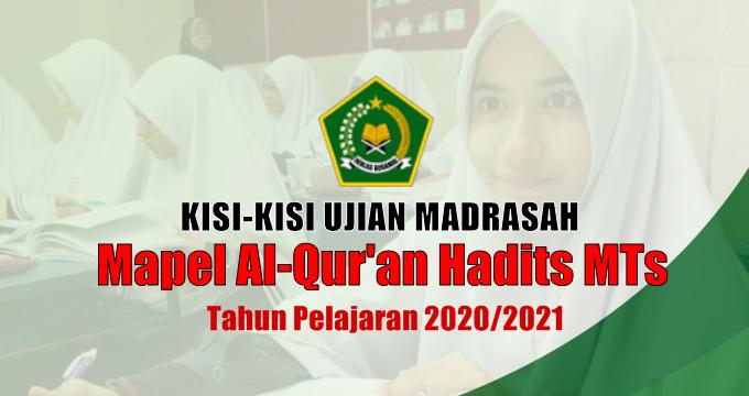 Kisi-Kisi Ujian Madrasah Mapel Al-Qur'an Hadits MTs
