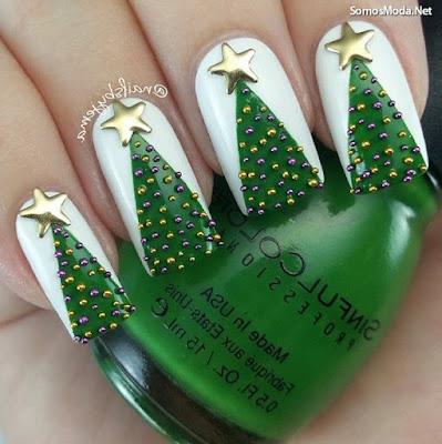 Uñas decoradas elegantes para navidad