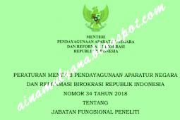 Permenpan RB No 34 [Tahun] 2018 (Tentang) Jabatan Fungsional PENELITI