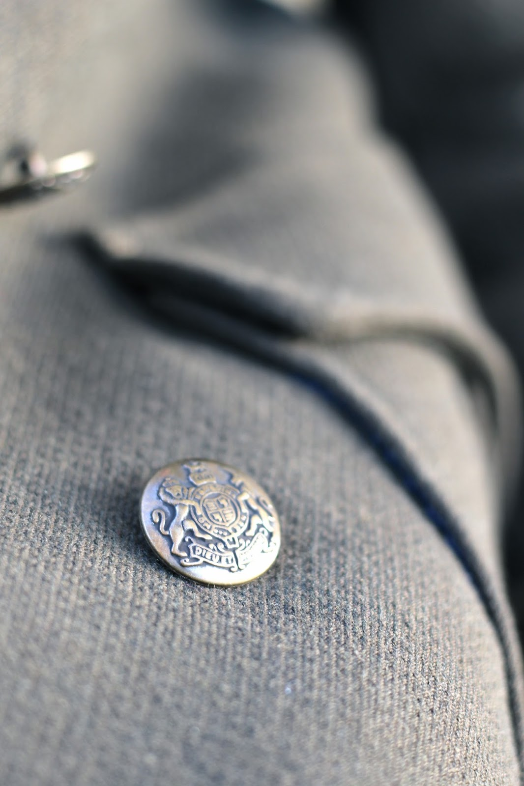 Close up of military Zara clothing button