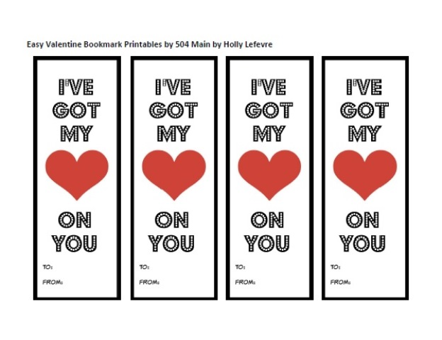 Printable Valentine Bookmark by 504 Main