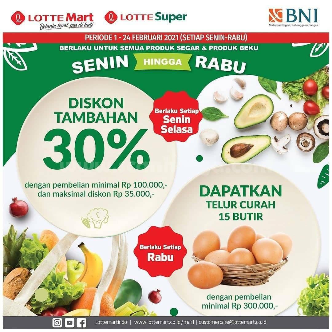 LOTTEMART Promo DISKON Tambahan 30% untuk Produk Fresh + GRATIS 15 Butir Telur Curah dengan KARTU KREDIT BNI