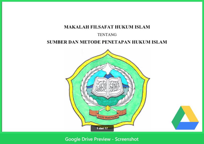 Contoh Makalah Agama Tentang Filsafat Sumber Dan Metode Penetapan Hukum Islam