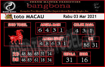 Prediksi Bangbona Toto Macau Rabu 03 Maret 2021