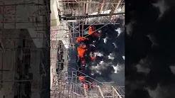 عاجل وبالفيديو...حريق مهول في معرض2020  بدبي الإمارات