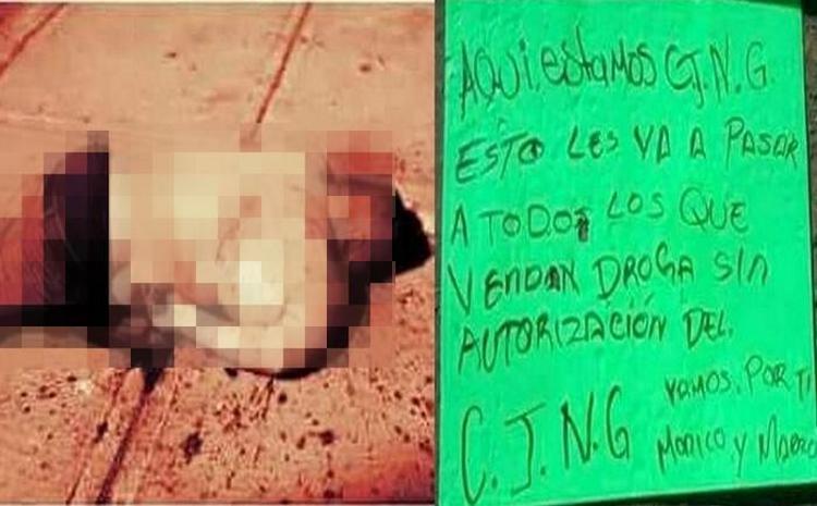"""Fotos,""""Vamos por ti Monico y Marro"""", CJNG dejan hombre ejecutado en el municipio de Huanímaro"""