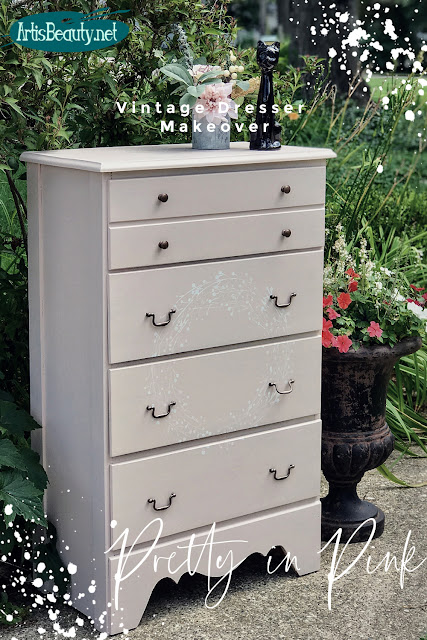 Pretty in Pink Vintage dresser makeover using General finishes Ballet Pink Milk Paint DIY