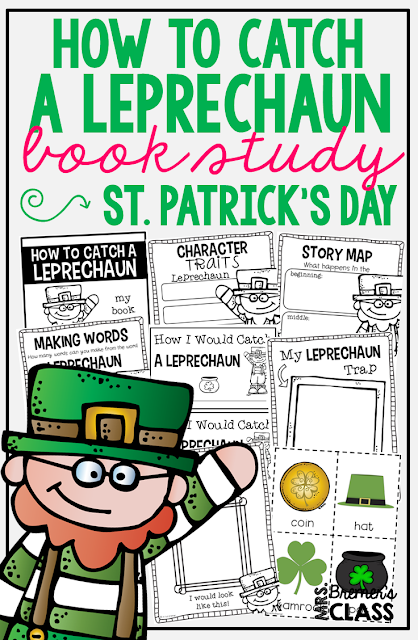 How to Catch a Leprechaun book study companion activities. Your students will LOVE trying to catch the leprechaun with the characters in the story! Perfect for St. Patrick's day. Packed with fun ideas and guided reading literacy activities. Common Core aligned. Grades K-2. #stpatricksday #bookstudy #bookstudies #literacy #guidedreading #1stgrade #kindergarten #bookcompanion #bookcompanions #1stgradereading #2ndgradereading #kindergartenreading #picturebookactivities