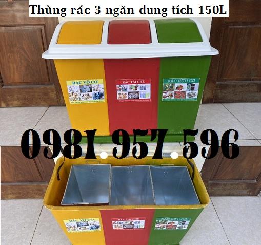 Thùng phân loại rác, thùng đựng rác 3 ngăn, thùng rác chia ngăn