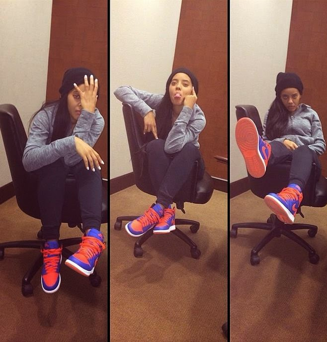 best service 90171 ae968 Angela Simmons Wearing Air Jordan 1 Retro  Knicks  Sneakers