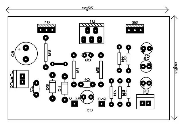 tda2030 with transistor Circuit pcb top mirror