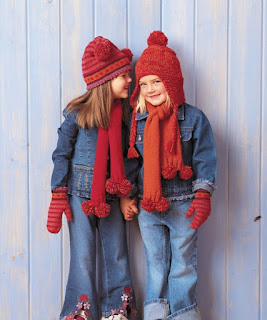 Free Knitting Pattern for Kids Hat Scarf Mittens