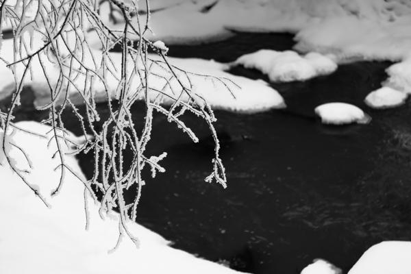 joki talvella mustavalkoinen