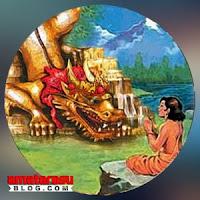 Gambar ilustrasi makhluk mitologi Naga Besukih di Pulau Bali.