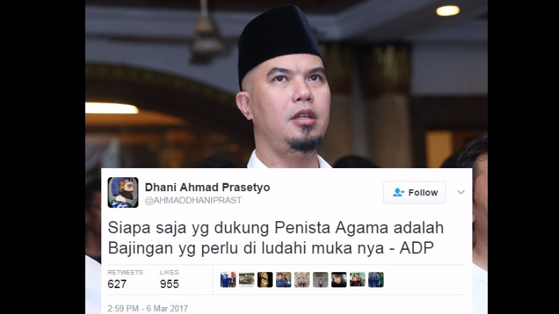 Ahmad Dhani sebut pendukung Ahok perlu diludahi