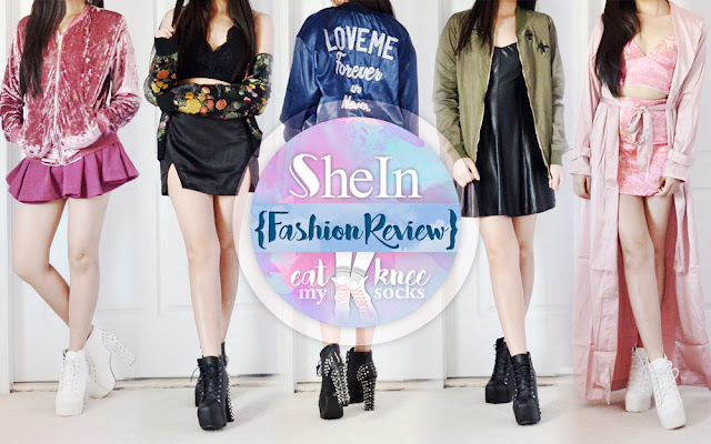 The fashion reviews continue today with a special outerwear haul from SheIn! I went a little overboard with my recent jacket obsession and ended up picking five items, including a pink crushed velvet bomber jacket, floral jacquard satin jacket, silky royal blue embroidered jacket, green lace-up bomber, and light pink duster coat. - Eat My Knee Socks / Mimchikimchi